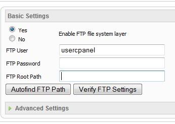 FTP configuration