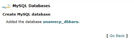 konfirmasi pembuatan database