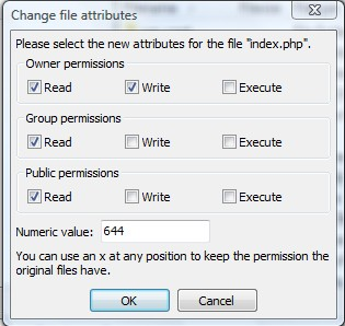 FileZilla Permission 644