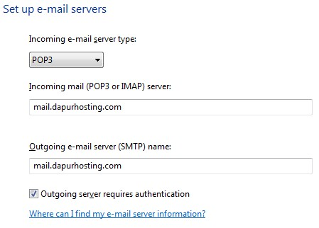 E-mail Server Type